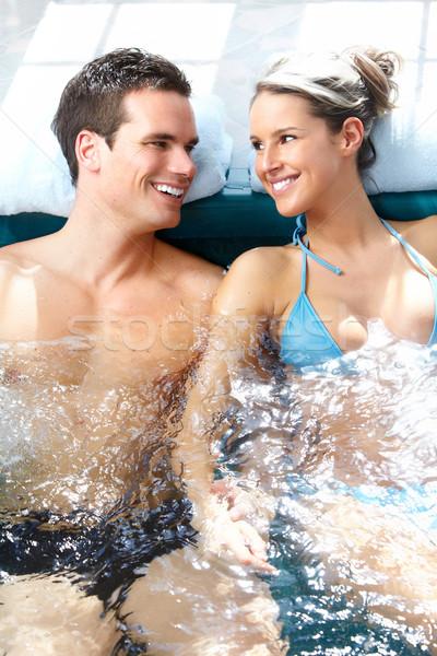 Casal jacuzzi jovem amoroso relaxante confortável Foto stock © Kurhan