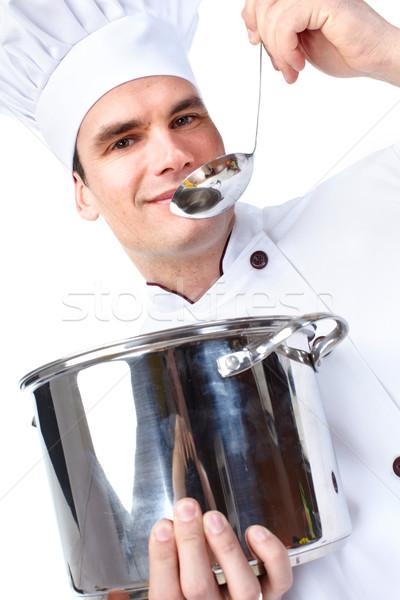Chef man geïsoleerd witte voedsel werknemer Stockfoto © Kurhan