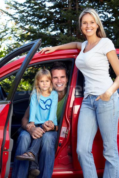 Photo stock: Famille · voiture · famille · heureuse · nouvelle · voiture · automobile · femme