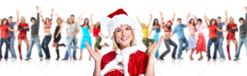 Boldog mikulás nő karácsony buli csoport Stock fotó © Kurhan