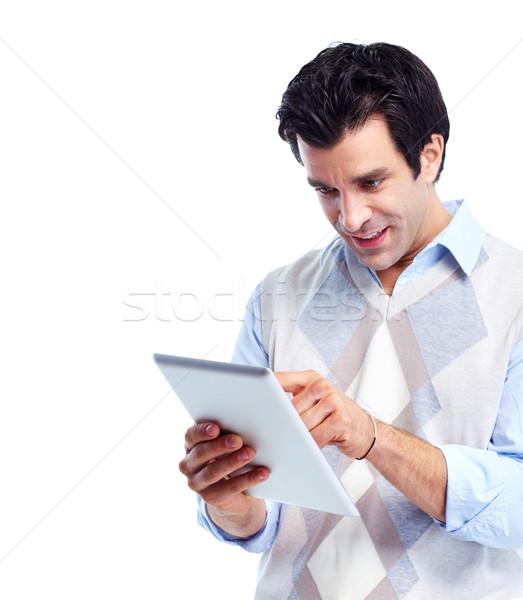 Zdjęcia stock: Przystojny · uśmiechnięty · człowiek · portret · odizolowany