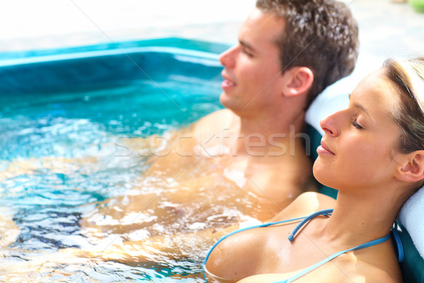 Casal jacuzzi estância termal relaxar água amor Foto stock © Kurhan