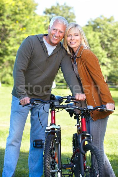 Happy senior couple cyclist. Stock photo © Kurhan