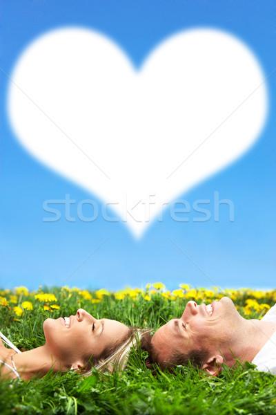 Stock fotó: Pár · fiatal · szeretet · álmodik · zöld · fű · nő
