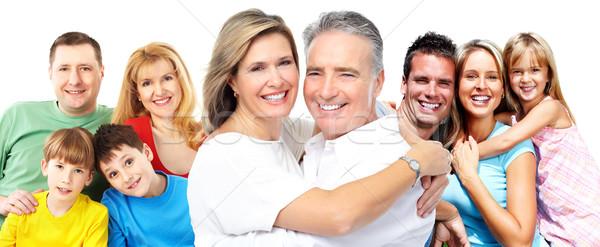 Boldog mosolyog családi portré izolált fehér család Stock fotó © Kurhan