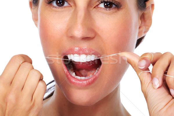 Foto stock: Mulher · dentes · fio · dental · odontologia · menina