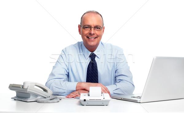 Foto stock: Empresário · escritório · executivo · maduro · isolado · branco