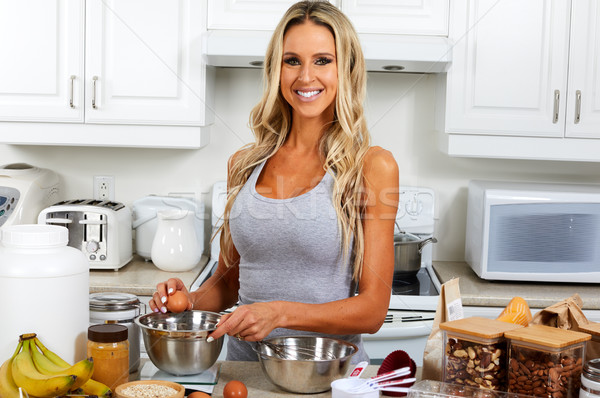 Girl cooking gluten free recipe. Stock photo © Kurhan