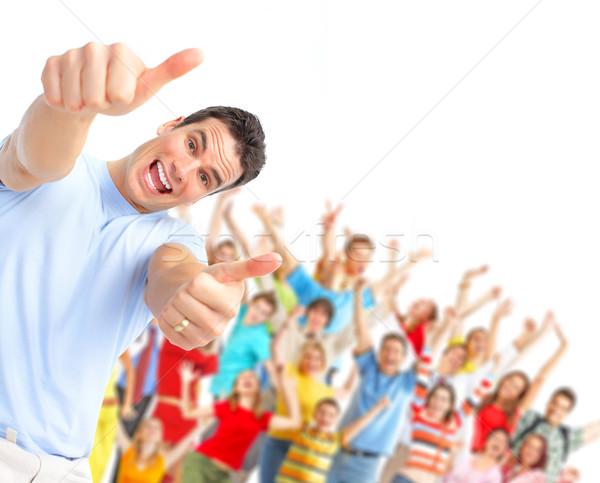 Pessoas felizes feliz homem pessoas do grupo família sorrir Foto stock © Kurhan