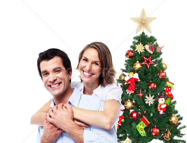 Feliz natal casal amor árvore de natal isolado Foto stock © Kurhan
