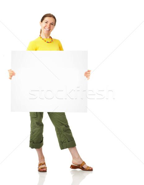 Woman with banner. Stock photo © Kurhan