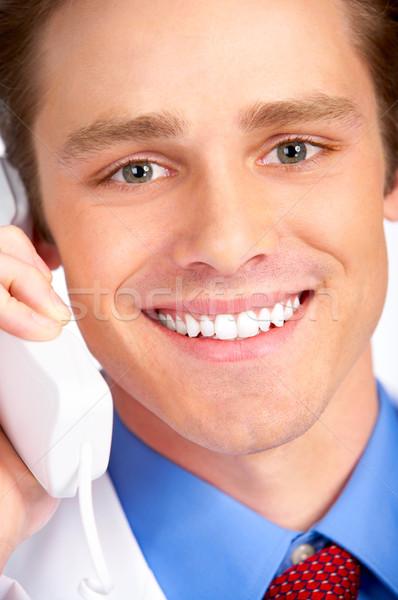 улыбаясь медицинской врач призыв телефон белый Сток-фото © Kurhan