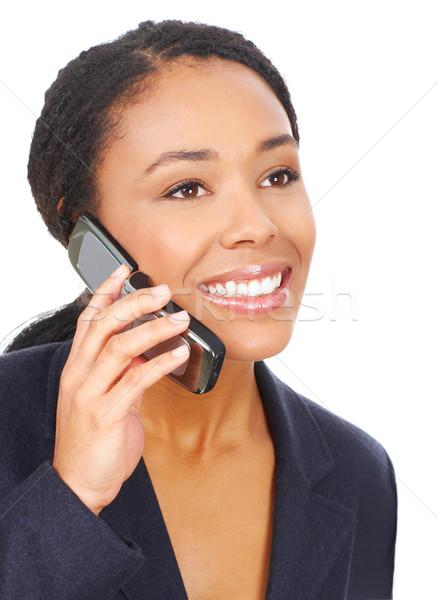 женщину сотовых привлекательный молодые деловой женщины призыв Сток-фото © Kurhan