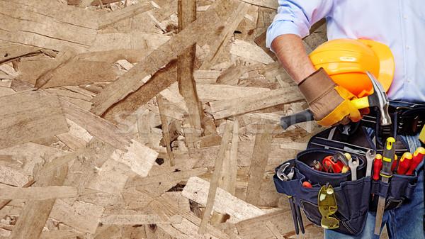 Mano trabajador construcción herramientas casa Foto stock © Kurhan