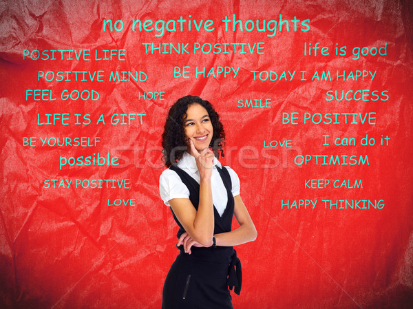 Positive thinking girl over abstract background. Stock photo © Kurhan