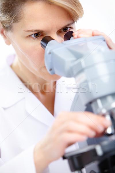Stock foto: Frau · Mikroskop · arbeiten · Labor · Arzt · Arbeit