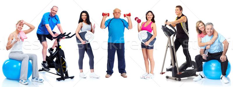 Zdjęcia stock: Grupy · zdrowych · fitness · ludzi · odizolowany · biały