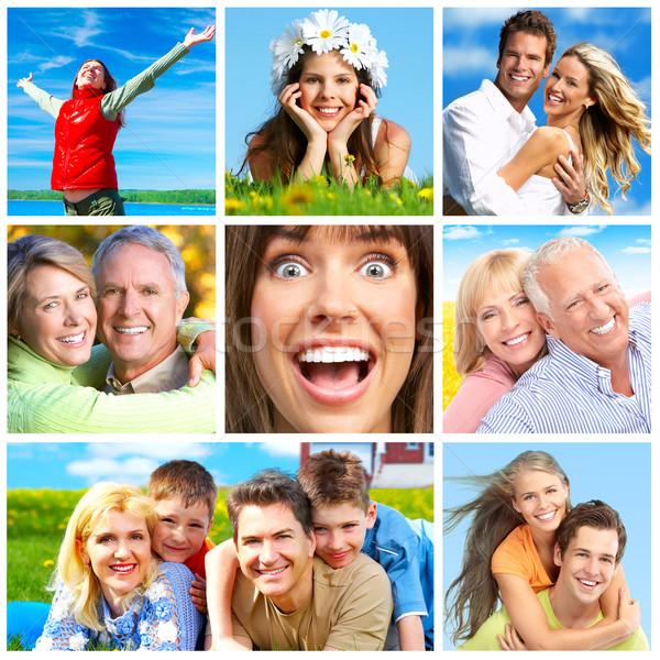 Pessoas felizes parque mulher flor flores família Foto stock © Kurhan
