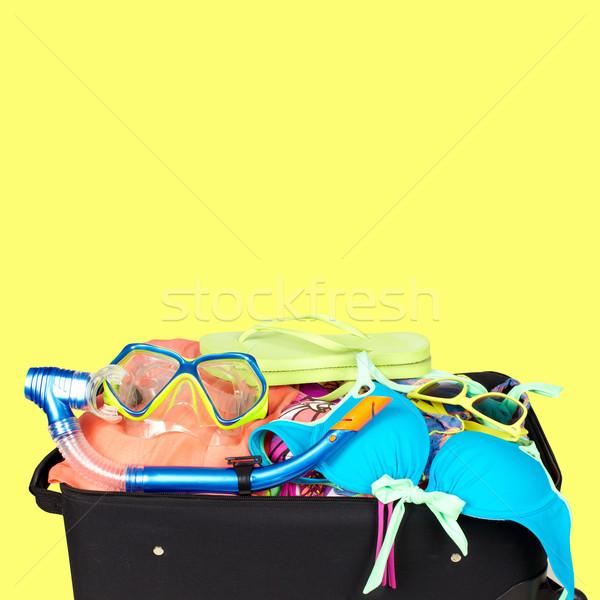Valigia bikini occhiali da sole pronto vacanze sfondo Foto d'archivio © Kurhan