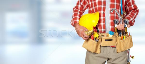 配管 手 ヘルメット 給水栓 青 男 ストックフォト © Kurhan