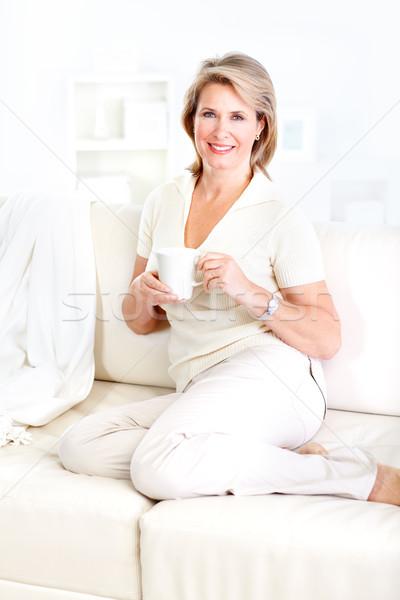 Stock fotó: Idős · nő · mosolyog · boldog · idős · nő · megnyugtató