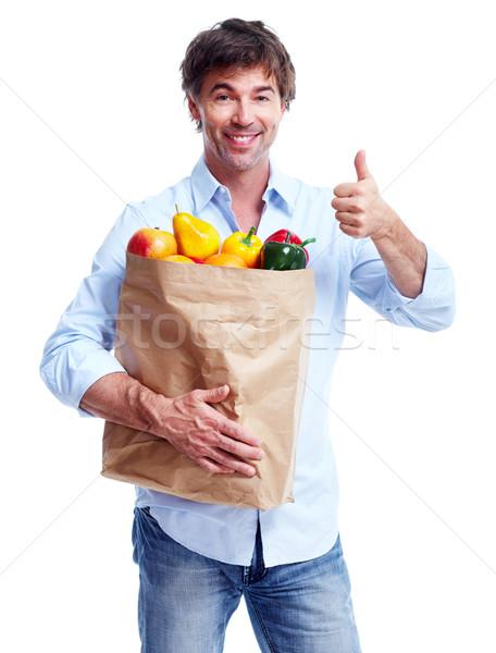Adam bakkal çanta yalıtılmış beyaz mutlu Stok fotoğraf © Kurhan