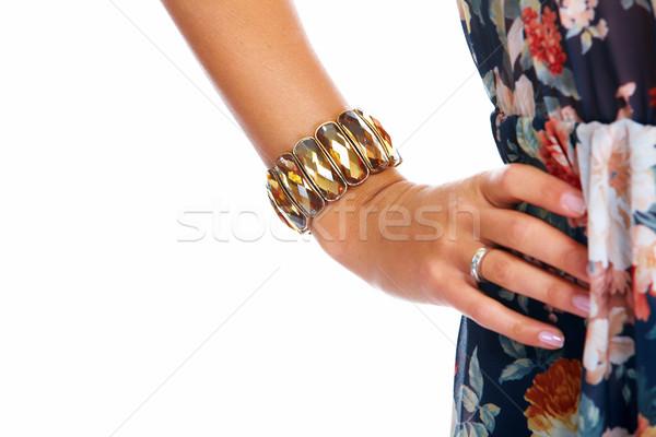 Mujer hermosa mano pulsera aislado blanco nina Foto stock © Kurhan