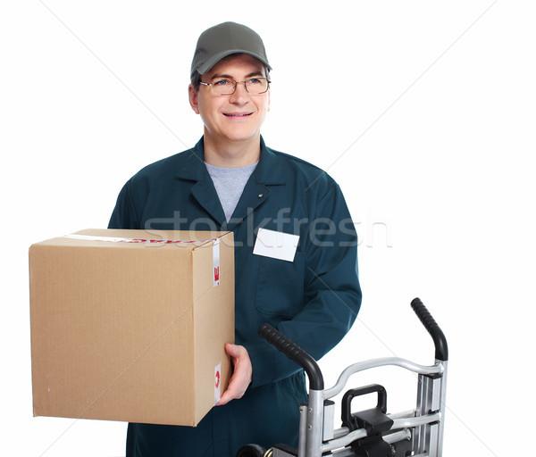 Consegna postino isolato bianco uomo camion Foto d'archivio © Kurhan