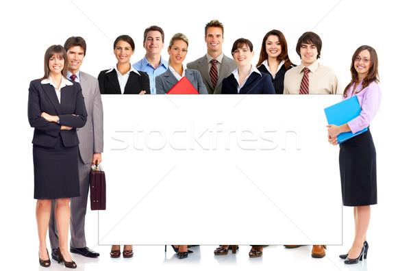 Stockfoto: Zakenlieden · jonge · glimlachend · geïsoleerd · witte · vrouw