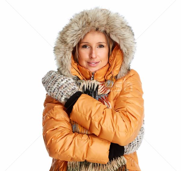 Сток-фото: зима · пальто · изолированный · белый