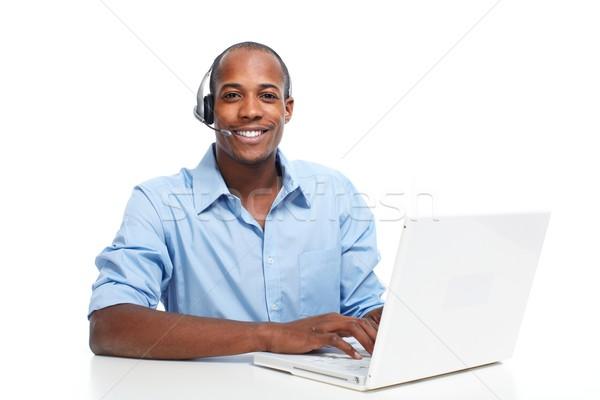 Mann Kopfhörer Call Center Betreiber sprechen Client Stock foto © Kurhan