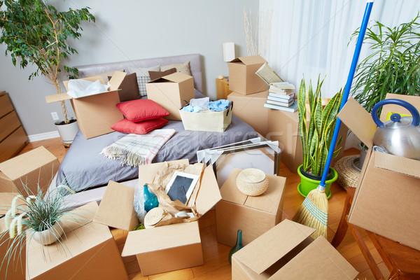 Költözködő dobozok új ház ingatlan ház doboz bútor Stock fotó © Kurhan