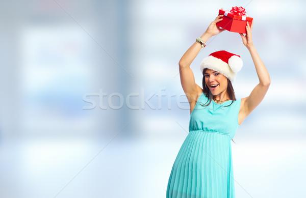 Mikulás segítő üzletasszony ajándék karácsony lány Stock fotó © Kurhan