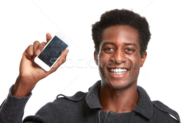 Stockfoto: Zwarte · man · smartphone · afro-amerikaanse · jonge · man · mobiele · telefoon · geïsoleerd