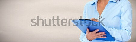 Stock photo: Business woman hands writing clipboard