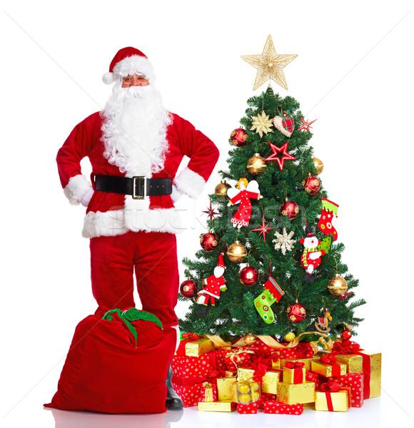 Stok fotoğraf: Noel · baba · noel · ağacı · mutlu · geleneksel · yalıtılmış · beyaz