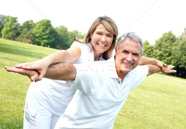 Zdjęcia stock: Szczęśliwy · starszych · para · starszy · para · miłości · parku