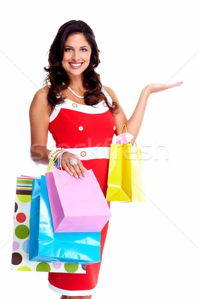 ストックフォト: 美人 · ショッピングバッグ · 孤立した · 白 · ファッション · 髪