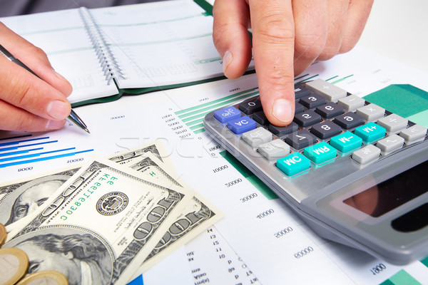 手 ビジネスマン 電卓 金融 会計 ビジネス ストックフォト © Kurhan