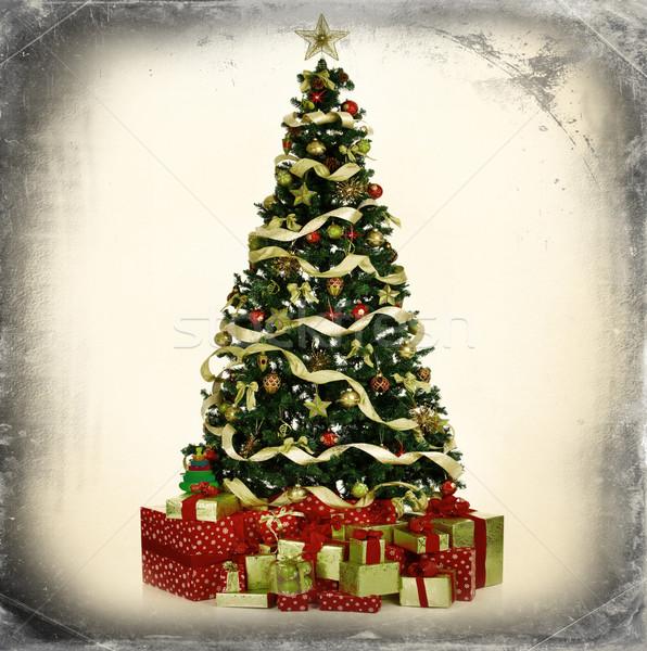 Stock fotó: Karácsonyfa · ajándékok · szürke · klasszikus · fa · buli