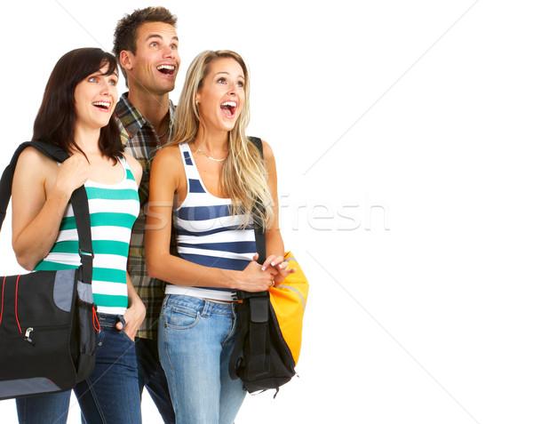 Diákok fiatal mosolyog izolált fehér férfi Stock fotó © Kurhan