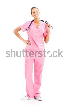 Enfermeira sorridente médico estetoscópio isolado branco Foto stock © Kurhan