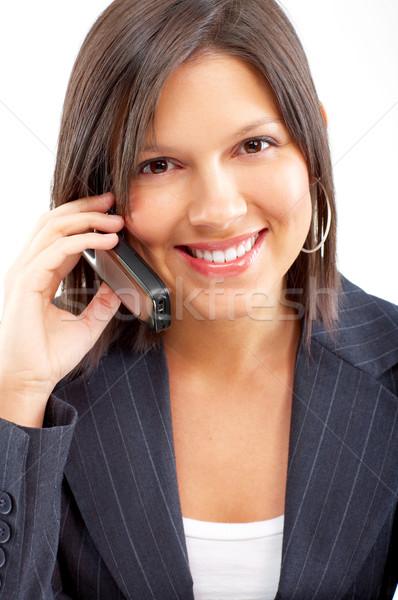 женщину сотовых молодые деловой женщины призыв сотовый телефон Сток-фото © Kurhan