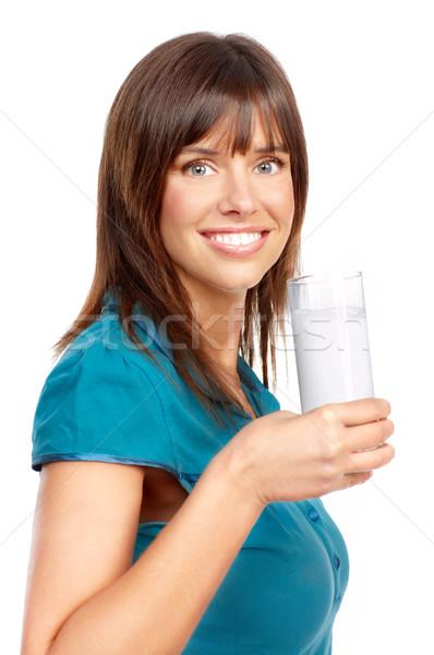 Stok fotoğraf: Genç · mutlu · kadın · içme · süt