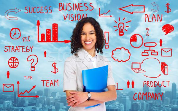 Business woman over scheme background Stock photo © Kurhan