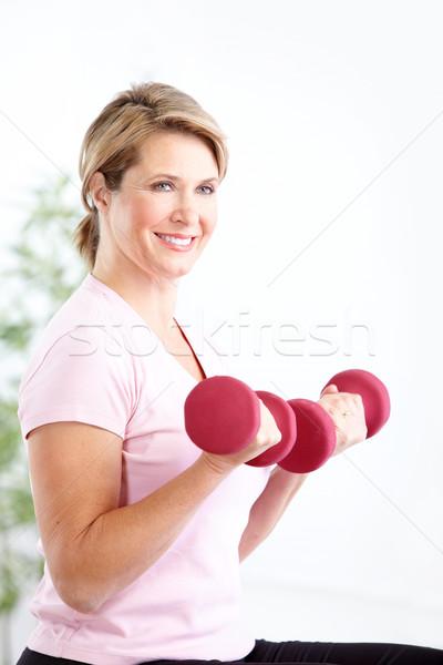 Stok fotoğraf: Kadın · uygunluk · spor · salonu · gülen