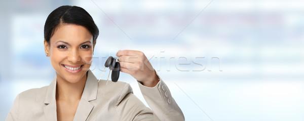 Auto дилер женщину ключи от машины Автосалон Сток-фото © Kurhan