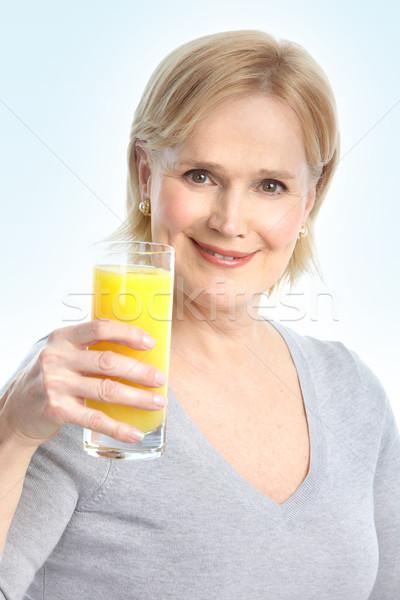 Stockfoto: Vrouw · sinaasappelsap · volwassen · glimlachende · vrouw · voedsel · gezondheid