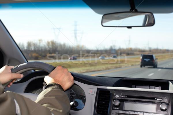 Foto d'archivio: Uomo · guida · autostrada · mano · driver · assicurazione