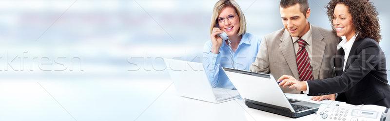 équipe commerciale groupe jeunes souriant gens d'affaires bleu Photo stock © Kurhan